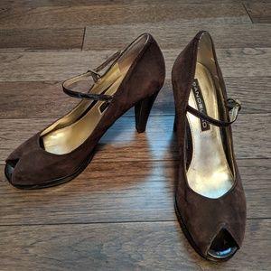 Chocolate brown suede peep toe pumps